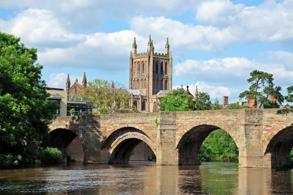 River Wye Bridge and Cathedral, Hereford © Arena Photo UK